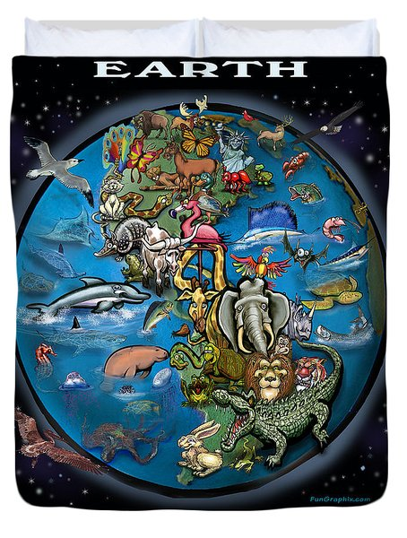 Duvet Cover featuring the painting Earth by Kevin Middleton