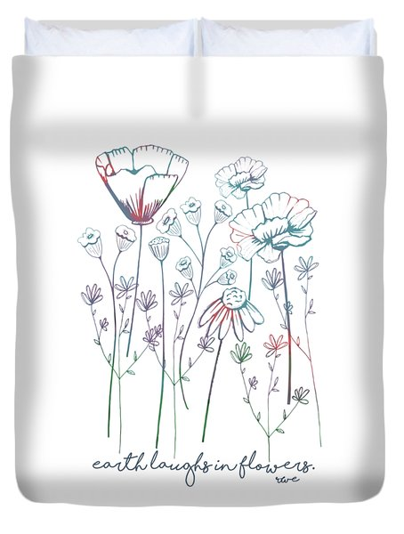 Duvet Cover featuring the digital art Earth Laughs In Flowers by Heather Applegate