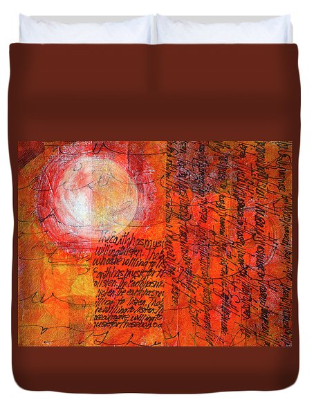 Duvet Cover featuring the mixed media Earth Music by Nancy Merkle