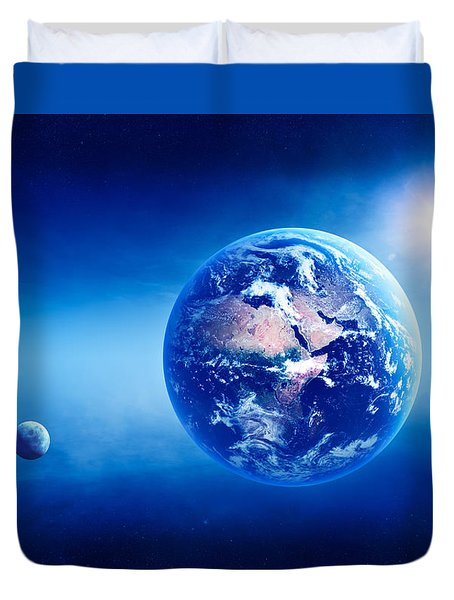 Earth Sunrise Deep Space Duvet Cover