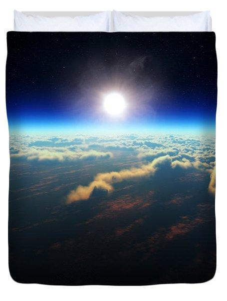 Earth Sunrise From Outer Space Duvet Cover
