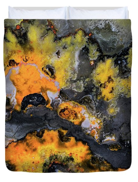 Earth Treasures - Yellow And Black Jaspis Duvet Cover