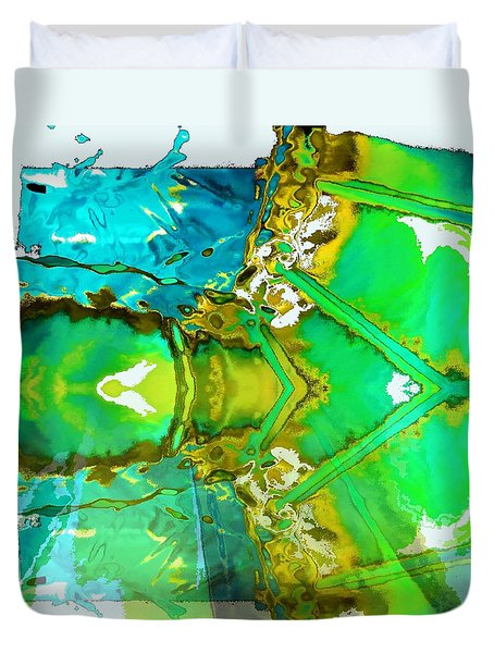 Duvet Cover featuring the painting Earth Water Sky Abstract by Carolyn Repka