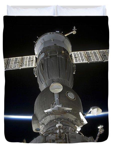 Earths Limb Intersects A Soyuz Duvet Cover by Stocktrek Images