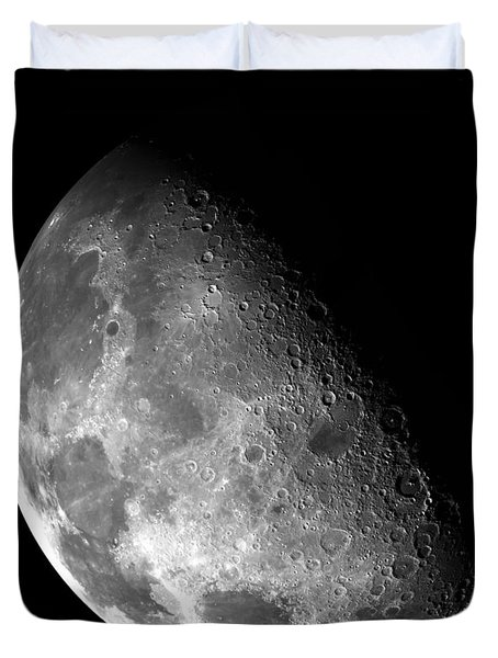Earth's Moon In Black And White Duvet Cover by Jennifer Rondinelli Reilly - Fine Art Photography