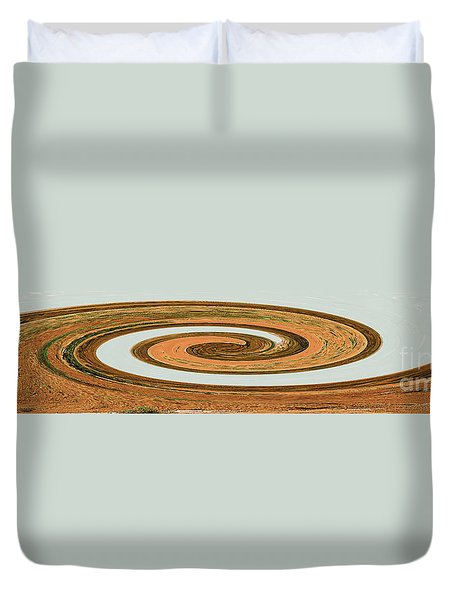 Duvet Cover featuring the digital art Earthtones - Modern Contemporary Art by Merton Allen