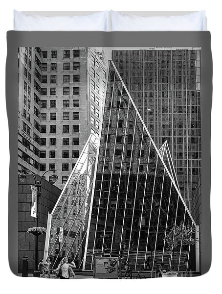 Duvet Cover featuring the photograph East 42nd Street, New York City  -17663-bw by John Bald