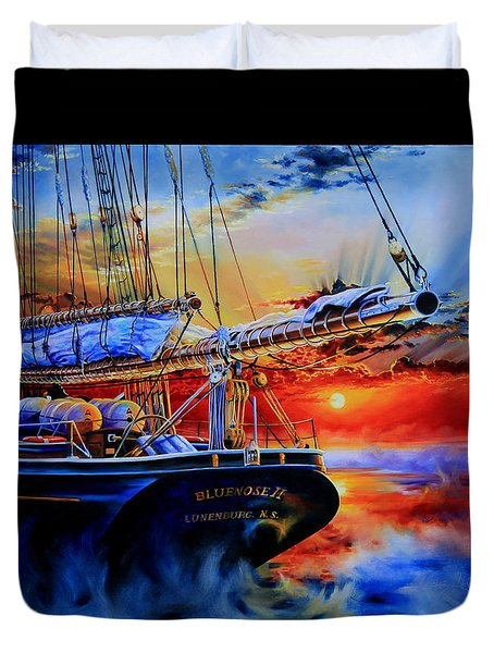 Duvet Cover featuring the painting Red Sky In The Morning by Hanne Lore Koehler