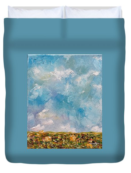 Duvet Cover featuring the painting East Field Seedlings by Judith Rhue