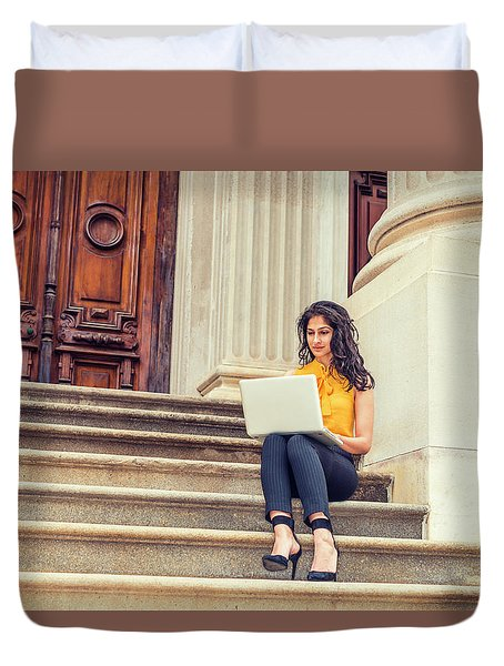 East Indian American College Student Studying In New York Duvet Cover