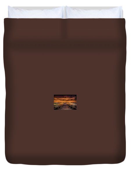 East Lake Pier Topaz Duvet Cover