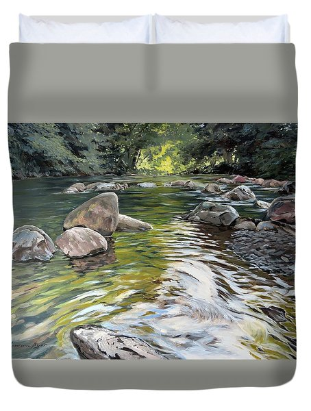 Duvet Cover featuring the painting East Okement River by Lawrence Dyer