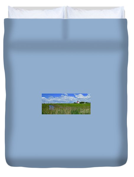 East Point Lighthouse Across The Marsh  Duvet Cover by Nancy Patterson