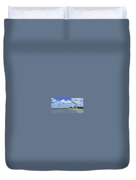 East Point Lighthouse At High Tide Duvet Cover by Nancy Patterson