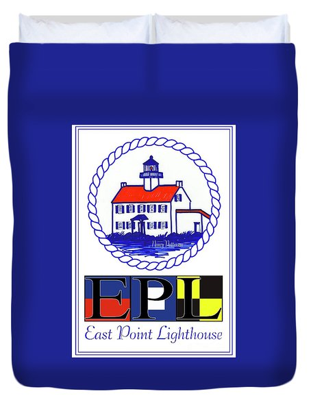 East Point Lighthouse Poster Duvet Cover by Nancy Patterson