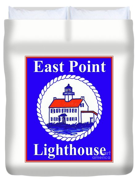 East Point Lighthouse Road Sign Duvet Cover