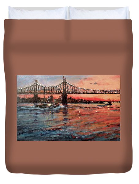 East River Tugboats Duvet Cover by Peter Salwen