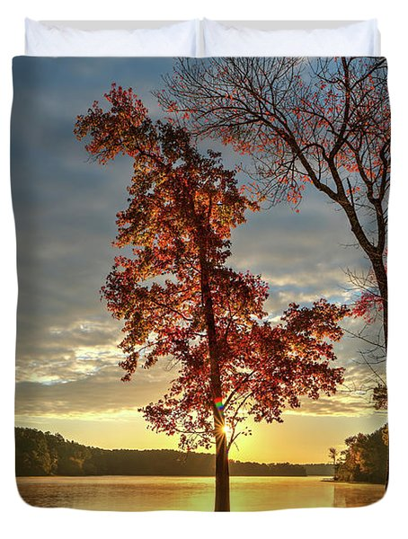 East Texas Autumn Sunrise At The Lake Duvet Cover