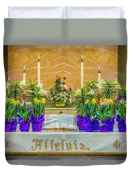 Duvet Cover featuring the photograph Easter Alter And Flowers by Nick Zelinsky