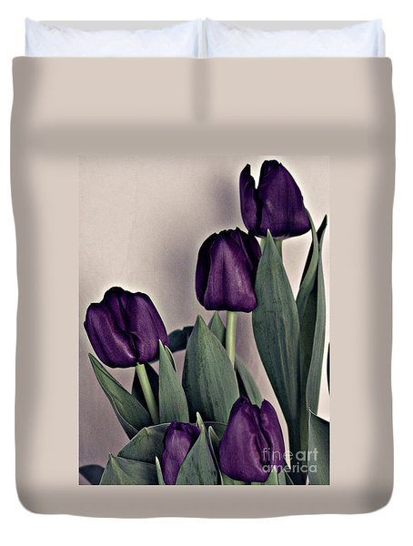 A Display Of Tulips Duvet Cover by Sherry Hallemeier