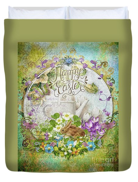 Duvet Cover featuring the mixed media Easter Breakfast by Mo T