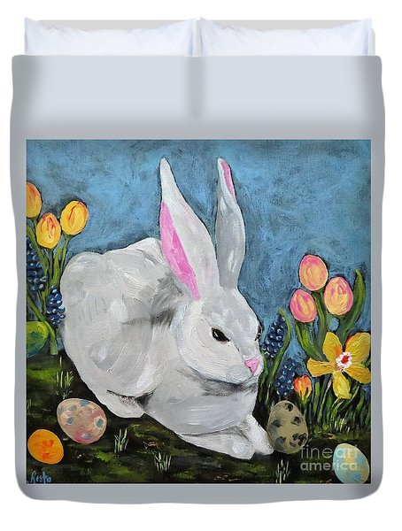 Duvet Cover featuring the painting Easter Bunny  by Reina Resto
