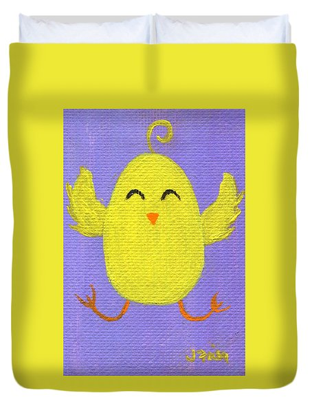 Duvet Cover featuring the painting Easter Chicky by Jamie Frier