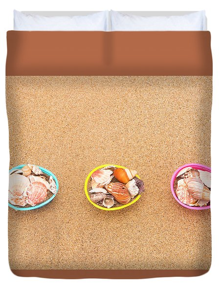 Easter Egg Baskets On Beach Duvet Cover