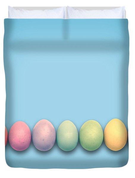 Easter Eggs, Blue Duvet Cover
