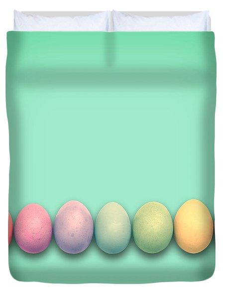 Easter Eggs, Green Duvet Cover