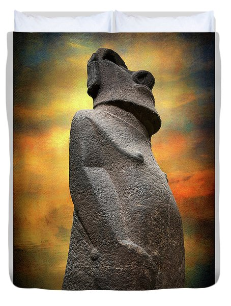 Duvet Cover featuring the photograph Easter Island Moai by Adrian Evans