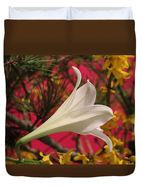 Easter Lily Without Text Duvet Cover