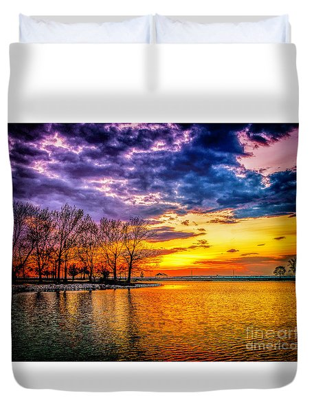 Duvet Cover featuring the photograph Easter Sunset At Riverview Beach Park by Nick Zelinsky