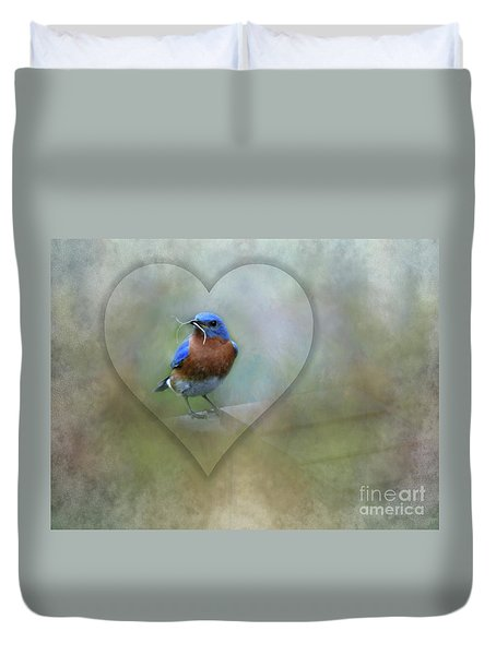 Eastern Bluebird Duvet Cover by Brenda Bostic