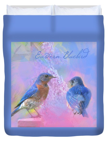 Duvet Cover featuring the photograph Eastern Bluebirds Watercolor Photo by Heidi Hermes