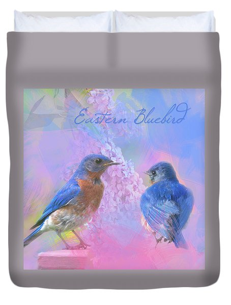 Eastern Bluebirds Watercolor Photo With Lilacs Duvet Cover