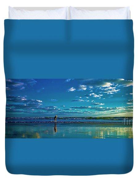 Eastern Florida Coast Morning Surf Fishing  Duvet Cover