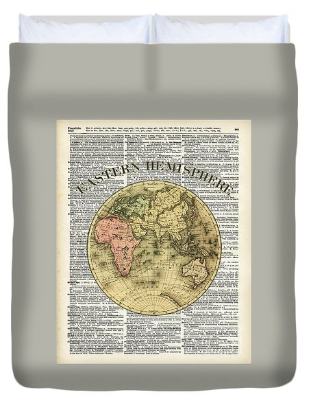 Eastern Hemisphere Earth Map Over Dictionary Page Duvet Cover by Jacob Kuch