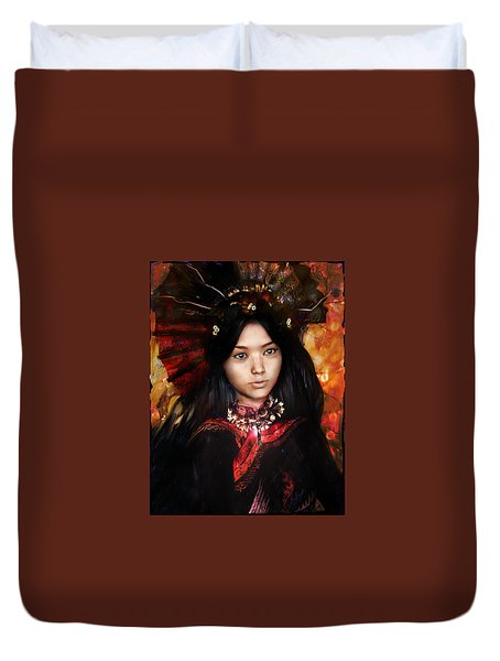 Eastern Light Our Lady Duvet Cover by Suzanne Silvir