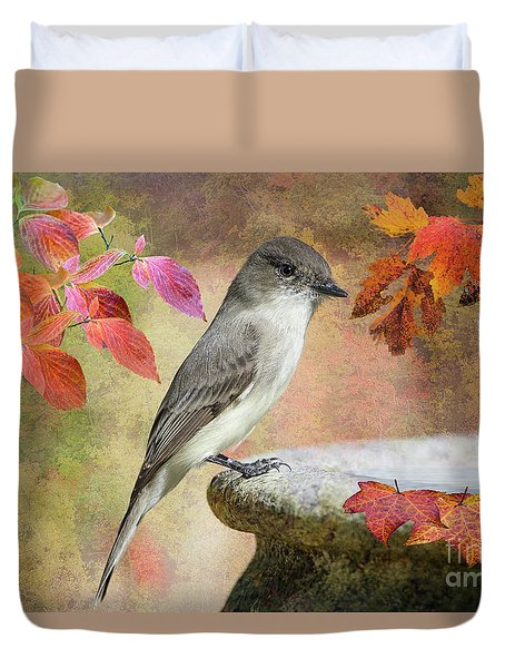 Duvet Cover featuring the photograph Eastern Phoebe In Autumn by Bonnie Barry
