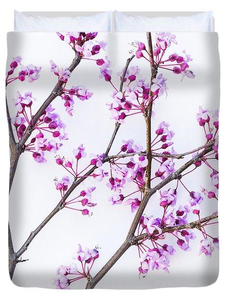 Eastern Redbud Duvet Cover by Elena Nosyreva