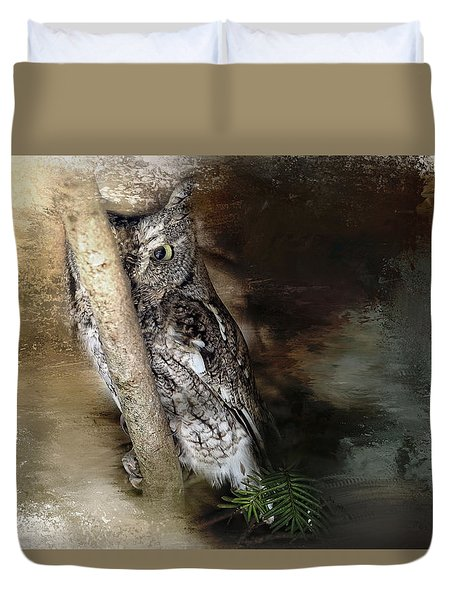 Duvet Cover featuring the photograph Eastern Screech Owl Plays Peek A Boo by Eleanor Abramson