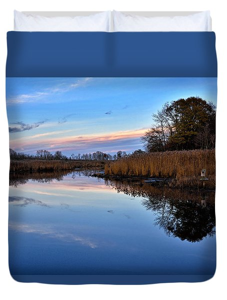 Duvet Cover featuring the photograph Eastern Shore Sunset - Blackwater National Wildlife Refuge by Brendan Reals