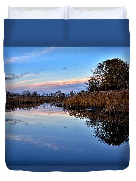Eastern Shore Sunset - Blackwater National Wildlife Refuge Duvet Cover by Brendan Reals