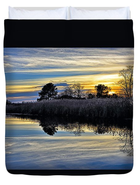 Duvet Cover featuring the photograph Eastern Shore Sunset - Blackwater National Wildlife Refuge - Maryland by Brendan Reals