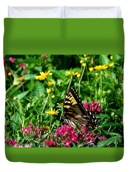 Duvet Cover featuring the photograph Eastern Tiger Swallowtail 000 by Chris Mercer