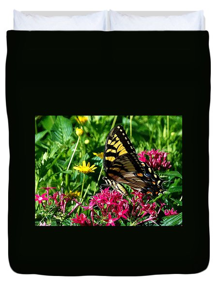 Duvet Cover featuring the photograph Eastern Tiger Swallowtail 001 by Chris Mercer