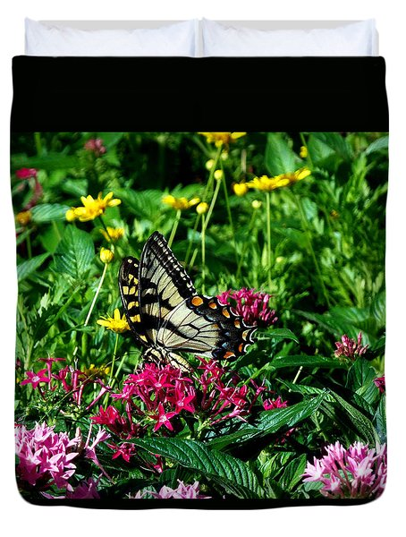 Duvet Cover featuring the photograph Eastern Tiger Swallowtail 002 by Chris Mercer