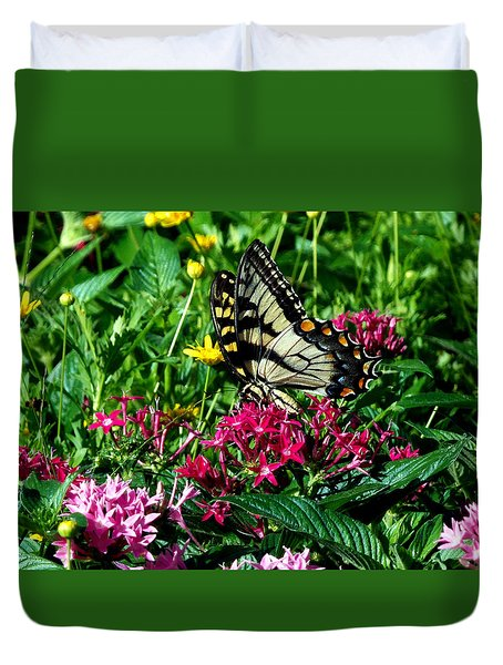 Duvet Cover featuring the photograph Eastern Tiger Swallowtail 003 by Chris Mercer