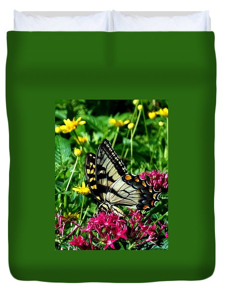 Duvet Cover featuring the photograph Eastern Tiger Swallowtail 004 by Chris Mercer